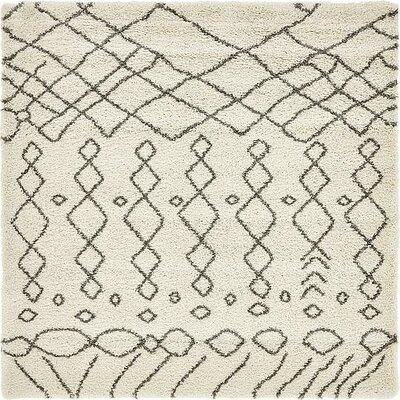 Bourne Machine woven  Ivory Area Rug Rug Size: Square 8