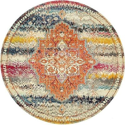 Newton Orange Area Rug Rug Size: Round 8