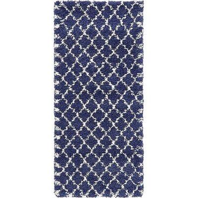 Cynthiana  Navy Blue Area Rug Rug Size: Runner 27 x 6