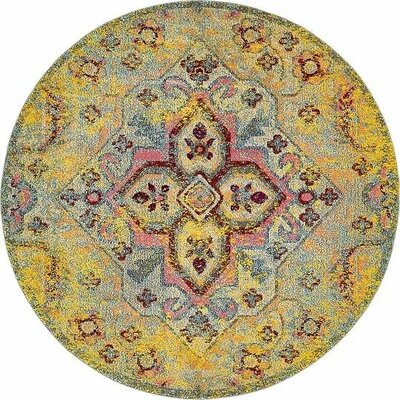 Boston Machine woven  Yellow Area Rug Rug Size: Round 8