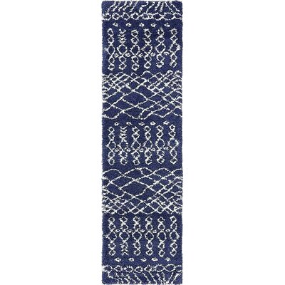 Bourne Machine woven Navy Blue Area Rug Rug Size: Runner 27 x 10