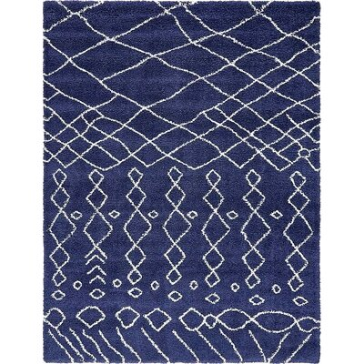 Bourne Machine woven Navy Blue Area Rug Rug Size: 9 x 12