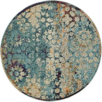 Boston  Blue Area Rug Rug Size: Round 4'