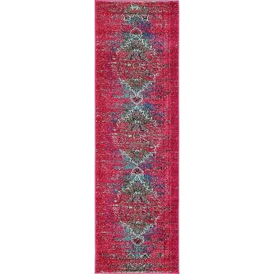 Boston Machine woven Pink Area Rug Rug Size: Runner 2 x 67