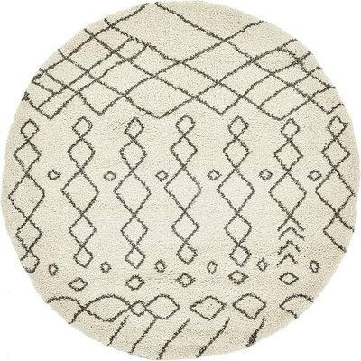 Bourne Machine woven  Ivory Area Rug Rug Size: Round 8