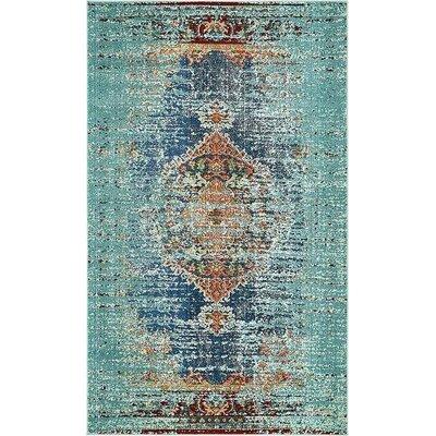 Glenn Blue Area Rug Rug Size: 5 x 8