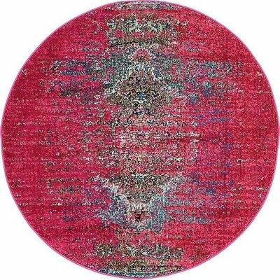 Glenn Machine woven Pink Area Rug Rug Size: Round 4