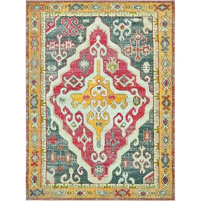Glenn Yellow/Red Area Rug Rug Size: 9 x 12