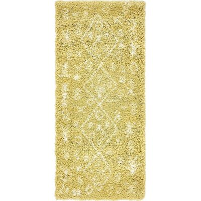 France Machine woven Yellow Area Rug Rug Size: Runner 27 x 6