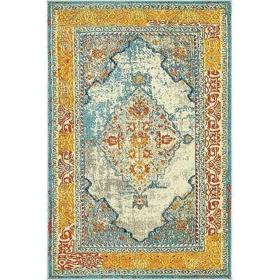 Boston Blue/Yellow Area Rug Rug Size: 4 x 6