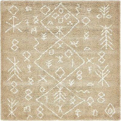 France Machine woven Taupe Area Rug Rug Size: Square 8