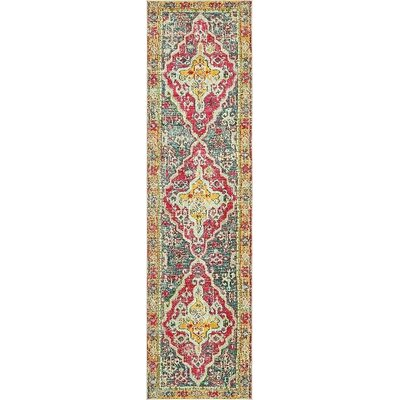 Boston Yellow/Red Area Rug Rug Size: Runner 27 x 10