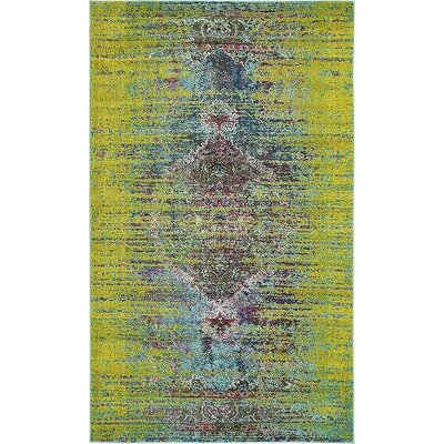 Glenn Machine woven Green Area Rug Rug Size: 5 x 8