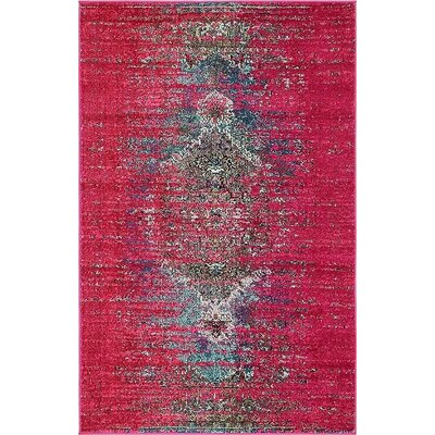 Boston Machine woven Pink Area Rug Rug Size: 4 x 6