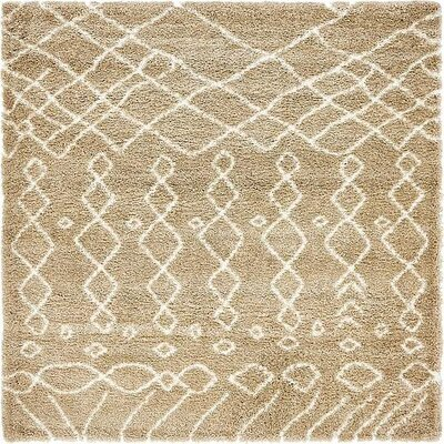 Bourne Machine woven Taupe Area Rug Rug Size: Square 8