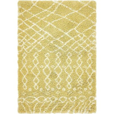 Bourne  Yellow Area Rug Rug Size: Rectangle 4 x 6