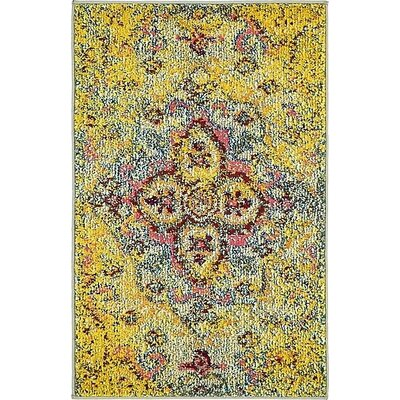Boston Machine woven  Yellow Area Rug Rug Size: 22 x 3