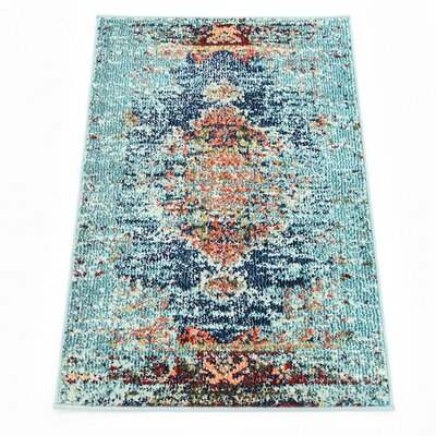 Glenn Blue Area Rug Rug Size: Rectangle 106 x 165