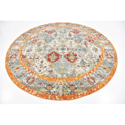 Hartell Stain Resistant Beige Area Rug Rug Size: Round 8