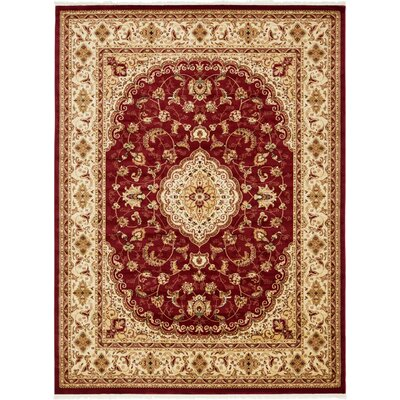 Anthonyson Burgundy/Cream Area Rug Rug Size: Runner 33 x 13