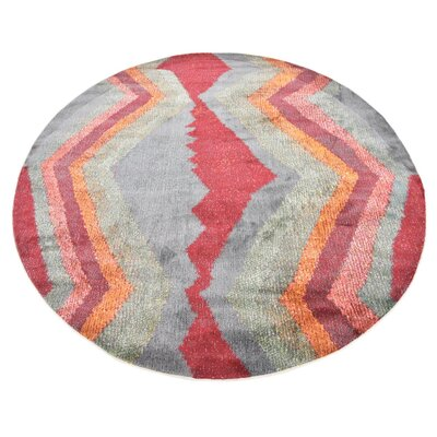 Backus Gray/Red Area Rug Rug Size: Round 5