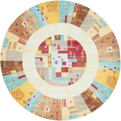 Rolling Hills Estates Yellow/Red/Brown Southwestern Area Rug Rug Size: Round 8