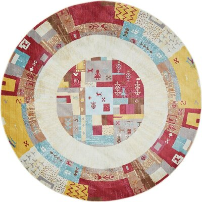 Rolling Hills Estates Yellow/Red/Brown Southwestern Area Rug Rug Size: Round 5