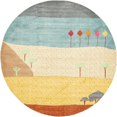 Rolling Hills Estates Gray/Yellow/Red Area Rug Rug Size: Round 8