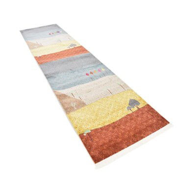 Rolling Hills Estates Gray/Yellow/Red Area Rug Rug Size: Runner 27 x 10