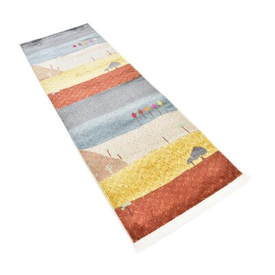 Rolling Hills Estates Gray/Yellow/Red Area Rug Rug Size: Runner 22 x 6