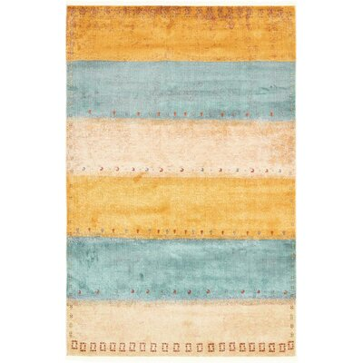 Purington Blue/Yellow/Beige Area Rug Rug Size: Rectangle 55 x 8