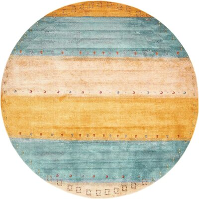 Purington Blue/Yellow/Beige Area Rug Rug Size: Round 8