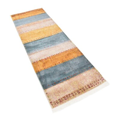 Purington Blue/Yellow/Beige Area Rug Rug Size: Runner 22 x 6