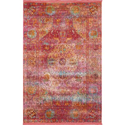 Regina Red Area Rug Rug Size: Rectangle 55 x 8
