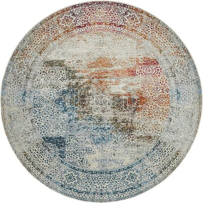 Lonerock Blue/Off-White Area Rug Rug Size: Round 84