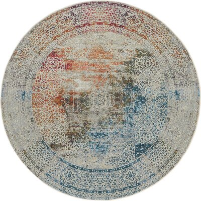 Lonerock Blue/Off-White Area Rug Rug Size: Round 55