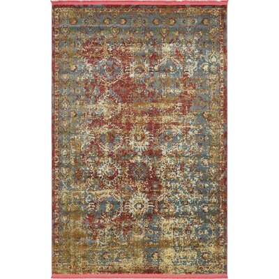 Lonerock Spanish Red/Green Area Rug Rug Size: Rectangle 55 x 8