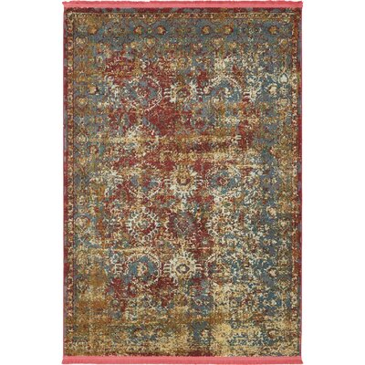 Lonerock Spanish Red/Green Area Rug Rug Size: Rectangle 43 x 6