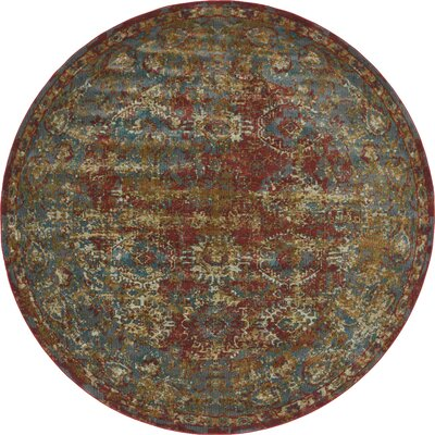 Lonerock Spanish Red/Green Area Rug Rug Size: Round 84