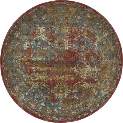 Lonerock Spanish Red/Green Area Rug Rug Size: Round 55