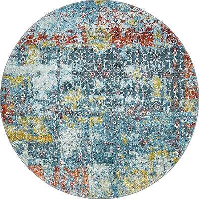 Lonerock Blue Area Rug Rug Size: Round 55