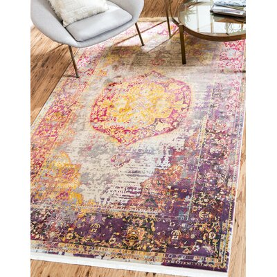 Lonerock Purple/Pink/Yellow Area Rug Rug Size: Rectangle 22 x 3