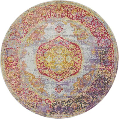 Lonerock Purple/Pink/Yellow Area Rug Rug Size: Round 84