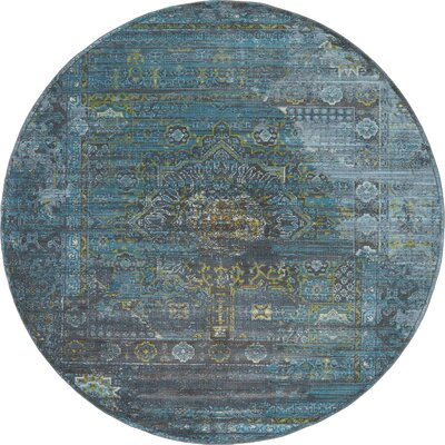 Lonerock Gray/Teal Area Rug Rug Size: Round 84
