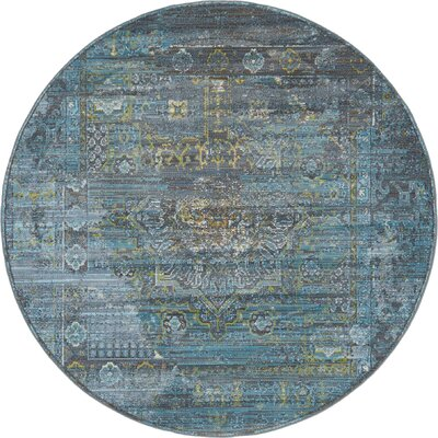 Lonerock Gray/Teal Area Rug Rug Size: Round 55