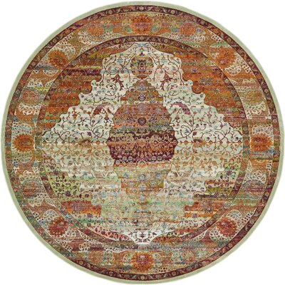Lonerock Orange Area Rug Rug Size: Round 84