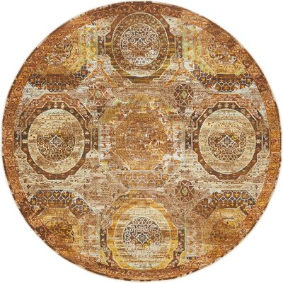 San Marcos Brown Area Rug Rug Size: Round 55