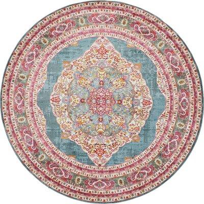 Lonerock Turquoise/Pink Area Rug Rug Size: Round 84