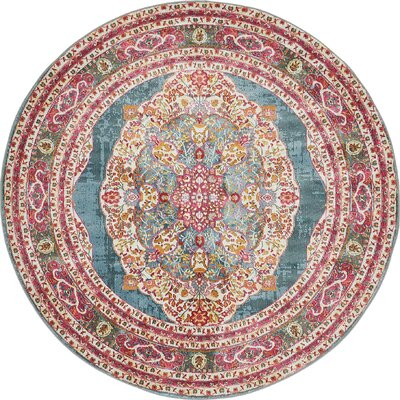 Lonerock Turquoise/Pink Area Rug Rug Size: Round 55