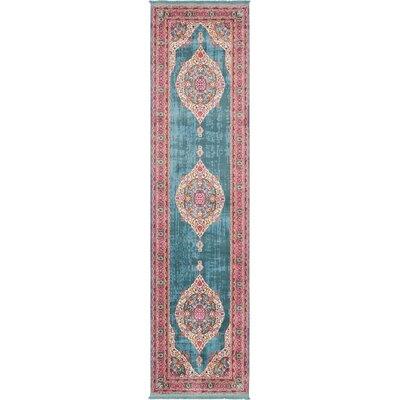 Lonerock Turquoise/Pink Area Rug Rug Size: Runner 27 x 10
